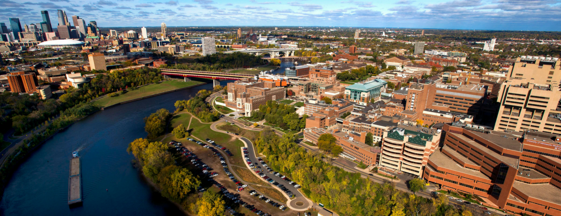 Aerial view of the University of Minnesota Twin Cities campus